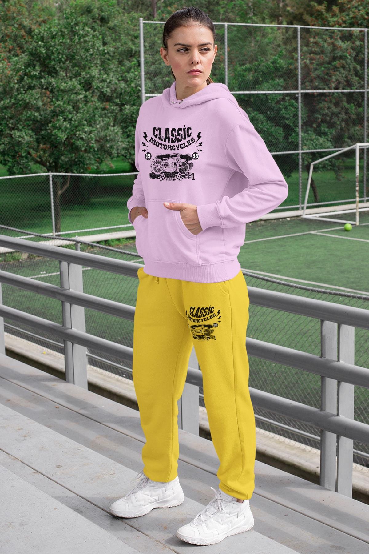 Wear Motorcycles Kadın Eşofman Takımı Pembe Kapşonlu Sweatshirt Sarı Eşofman Altı