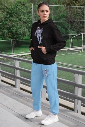 Angemiel Wear Selam Veren Astronot Kadın Eşofman Takımı Siyah Kapşonlu Sweatshirt Mavi Eşofman Altı 0