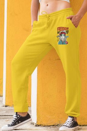 Angemiel Wear Freedom Aslan Kadın Eşofman Takımı Gri Kapşonlu Sweatshirt Sarı Eşofman Altı 1