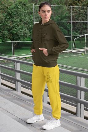 Angemiel Wear Geometrik Şekiller Kadın Eşofman Takımı Yeşil Kapşonlu Sweatshirt Sarı Eşofman Altı 0