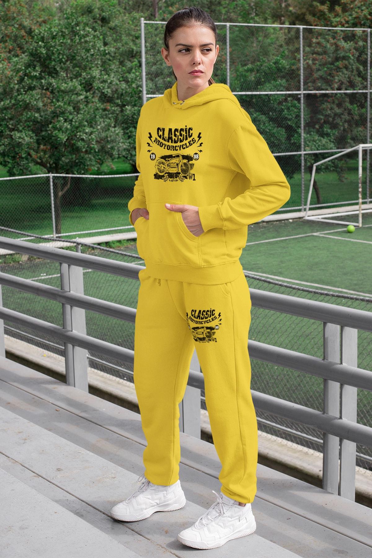 Wear Motorcycles Kadın Eşofman Takımı Sarı Kapşonlu Sweatshirt Sarı Eşofman Altı