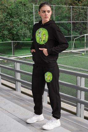 Angemiel Wear Ram Portaldan Geçiş Kadın Eşofman Takımı Siyah Kapşonlu Sweatshirt Siyah Eşofman Altı 0