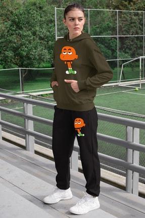 Angemiel Wear Canı Sıkkın Darwin Kadın Eşofman Takımı Yeşil Kapşonlu Sweatshirt Siyah Eşofman Altı 0