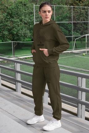 Angemiel Wear Oğlak Burcu Kadın Eşofman Takımı Yeşil Kapşonlu Sweatshirt Yeşil Eşofman Altı 0