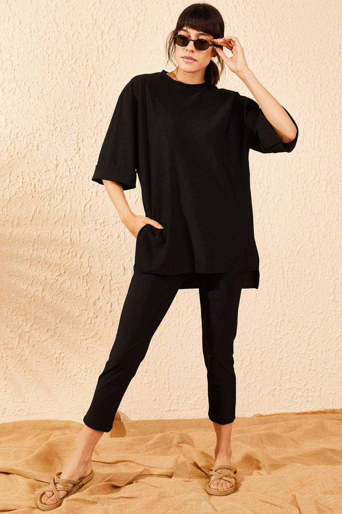 Bianco Lucci Kadın Siyah Crep Alt Üst İkili Takım 10071054 4