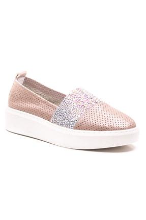 GRADA Vizon Deri Taşlı Delik Baskılı Kadın Ayakkabı 0