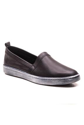 GRADA Siyah Sade Düz Hakiki Deri Kadın Ayakkabı 0
