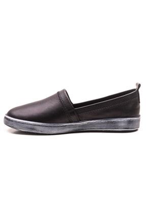 GRADA Siyah Sade Düz Hakiki Deri Kadın Ayakkabı 2