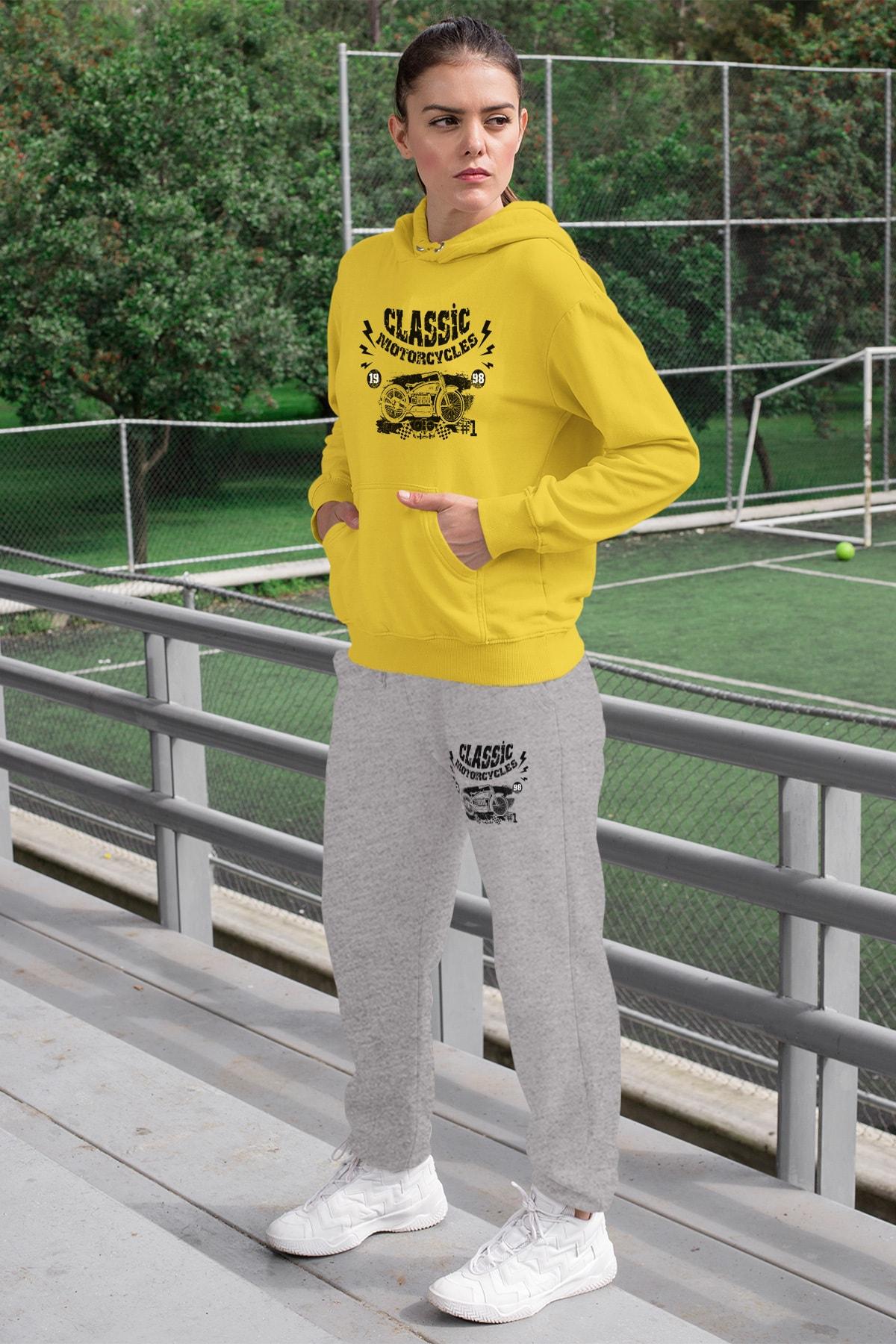 Wear Motorcycles Kadın Eşofman Takımı Sarı Kapşonlu Sweatshirt Gri Eşofman Altı