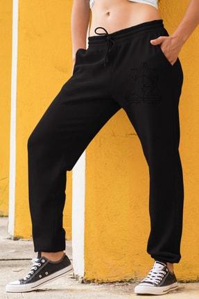 Angemiel Wear Geometrik Şekiller Kadın Eşofman Takımı Mavi Kapşonlu Sweatshirt Siyah Eşofman Altı 1
