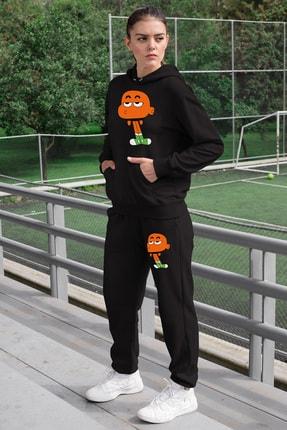 Angemiel Wear Canı Sıkkın Darwin Kadın Eşofman Takımı Siyah Kapşonlu Sweatshirt Siyah Eşofman Altı 0