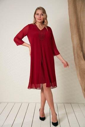 Rmg Yaka Taş Detaylı Büyük Beden Bordo Elbise 0