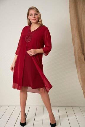 Rmg Yaka Taş Detaylı Büyük Beden Bordo Elbise 3