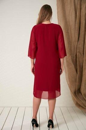 Rmg Yaka Taş Detaylı Büyük Beden Bordo Elbise 4