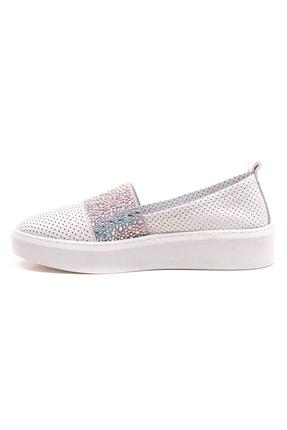 GRADA Beyaz Deri Taşlı Delik Baskılı Kadın Ayakkabı 0