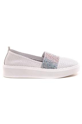 GRADA Beyaz Deri Taşlı Delik Baskılı Kadın Ayakkabı 3