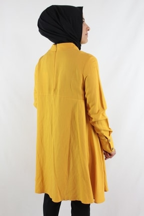 Duha Store Şık Ham Keten Tunik Sarı 4