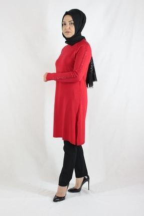 Duha Store Kolları Taşlı Triko Tunik Kırmızı 0
