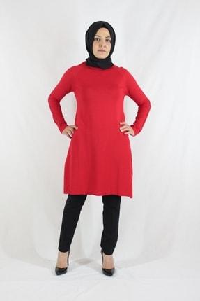 Duha Store Kolları Taşlı Triko Tunik Kırmızı 1