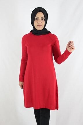 Duha Store Kolları Taşlı Triko Tunik Kırmızı 3