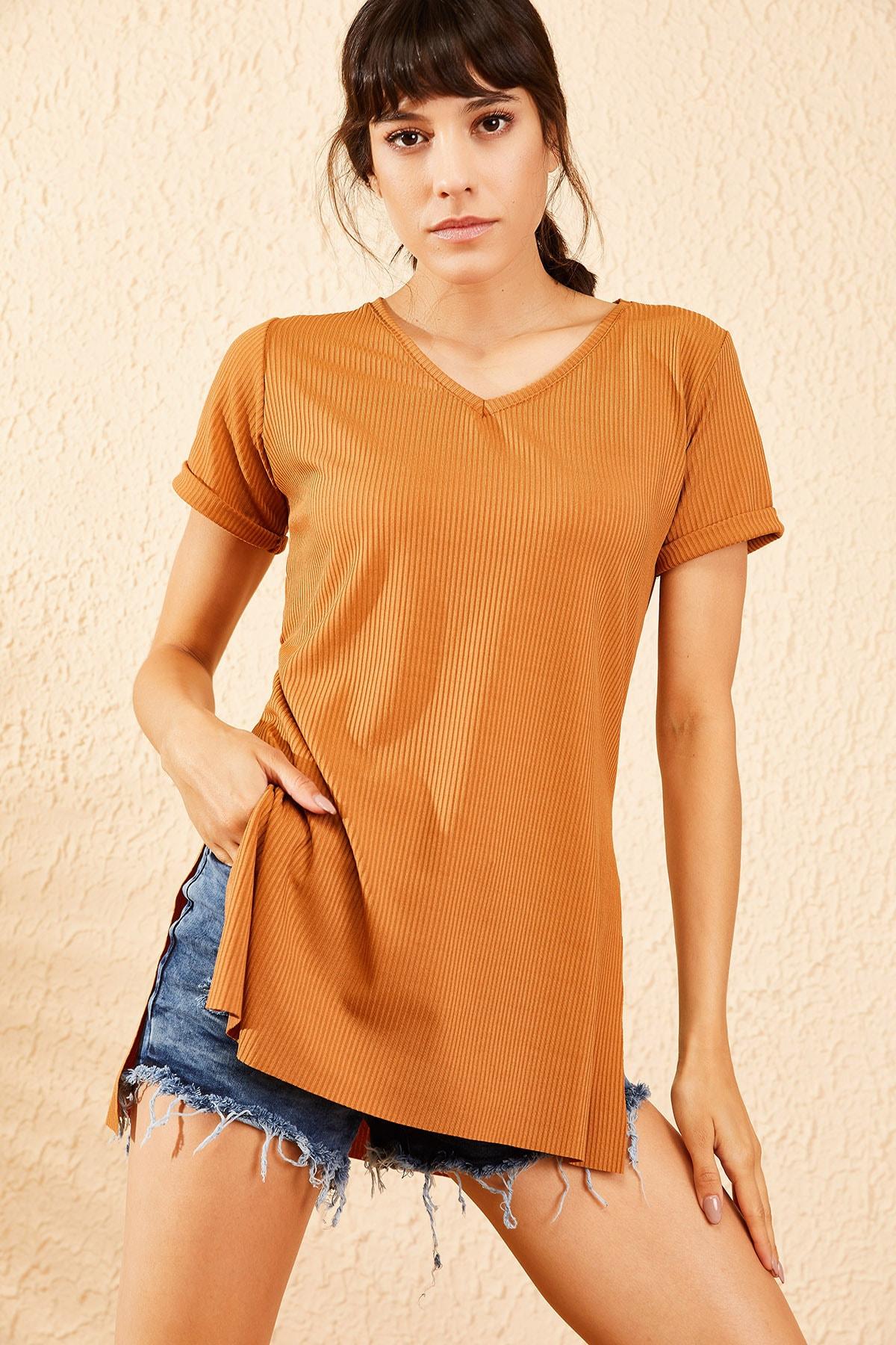 Bianco Lucci Kadın Taba Kol Yan Yırtmaçlı Kol Detay Kaşkorse T-Shirt 10051012 0