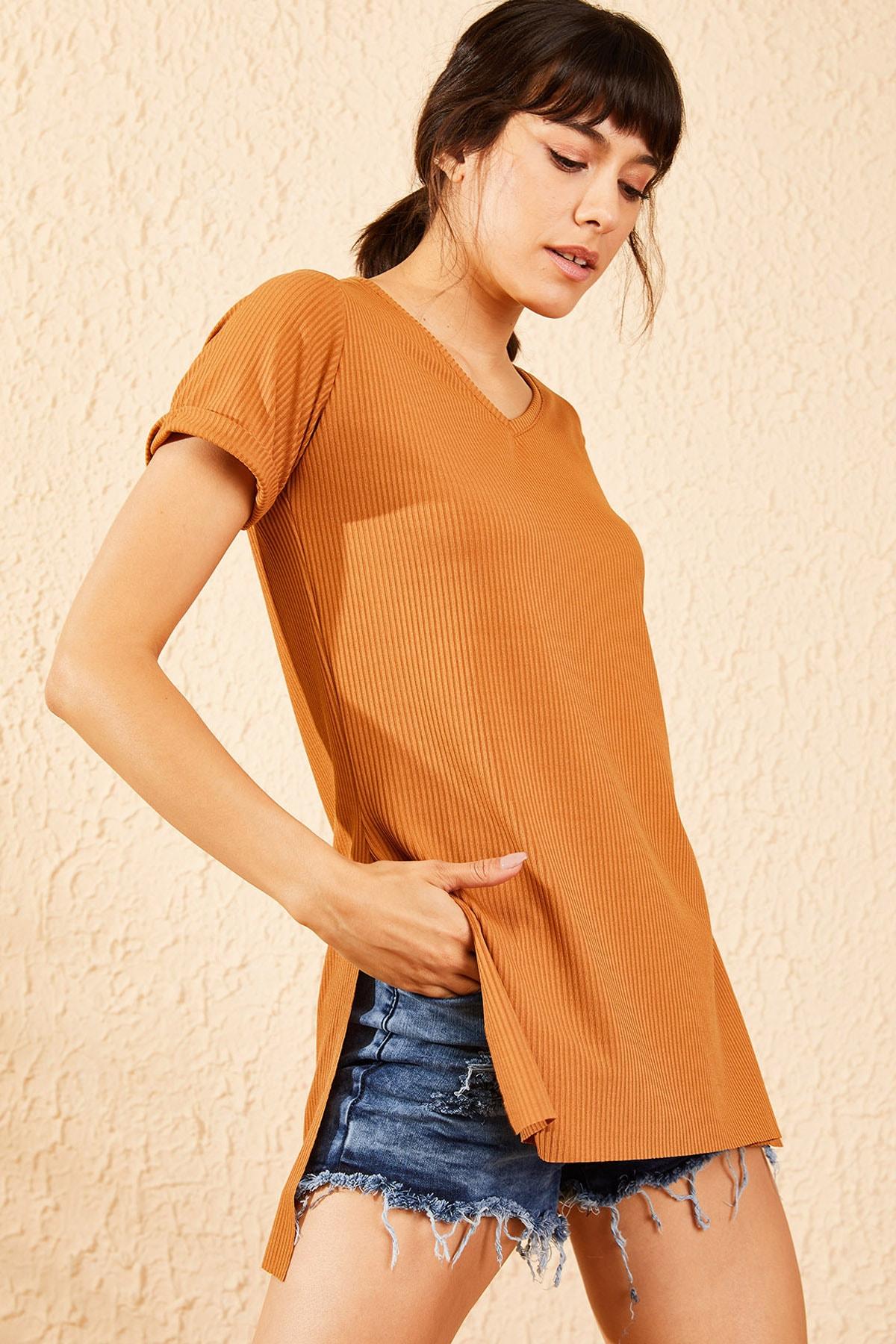 Bianco Lucci Kadın Taba Kol Yan Yırtmaçlı Kol Detay Kaşkorse T-Shirt 10051012 1