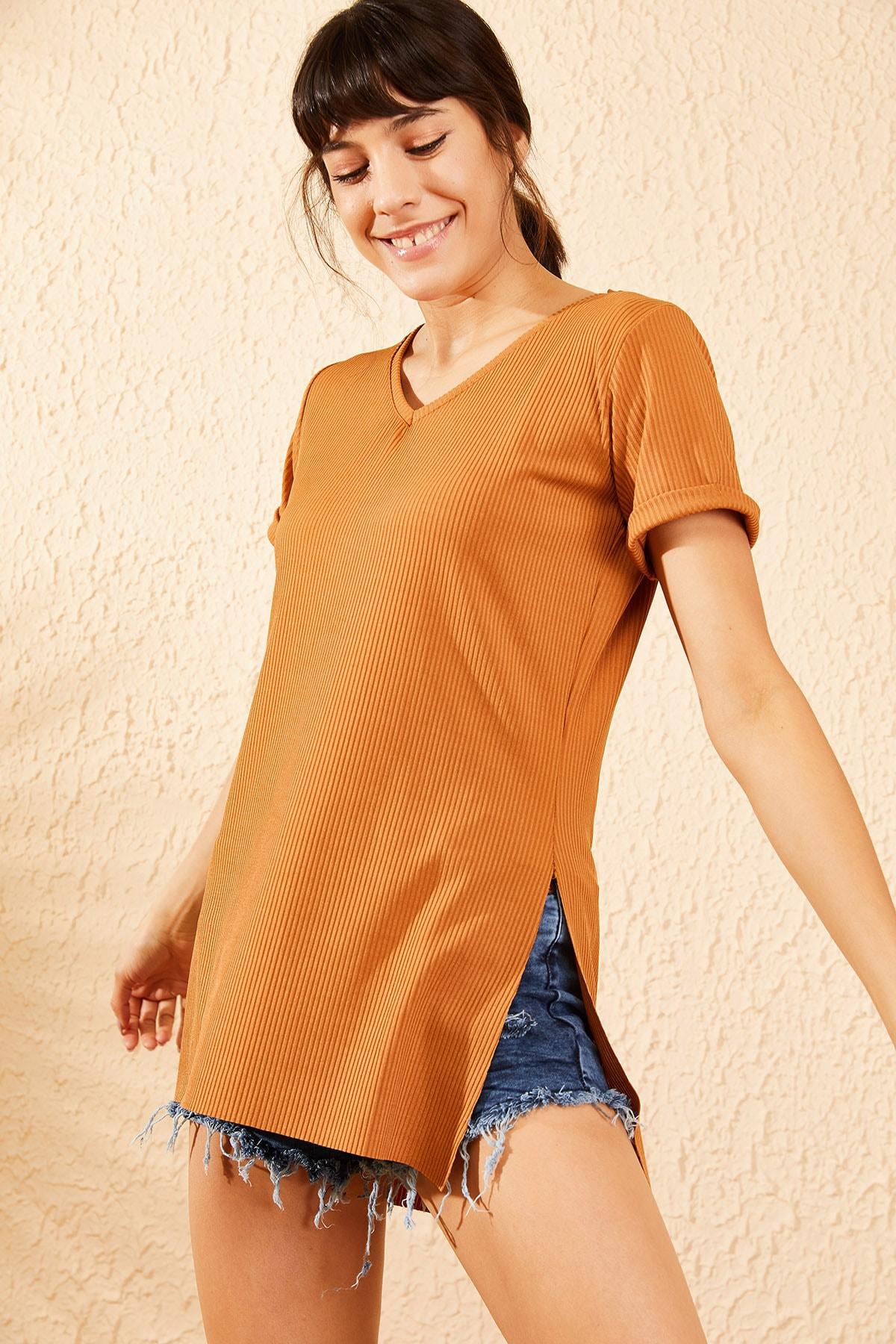 Bianco Lucci Kadın Taba Kol Yan Yırtmaçlı Kol Detay Kaşkorse T-Shirt 10051012 2