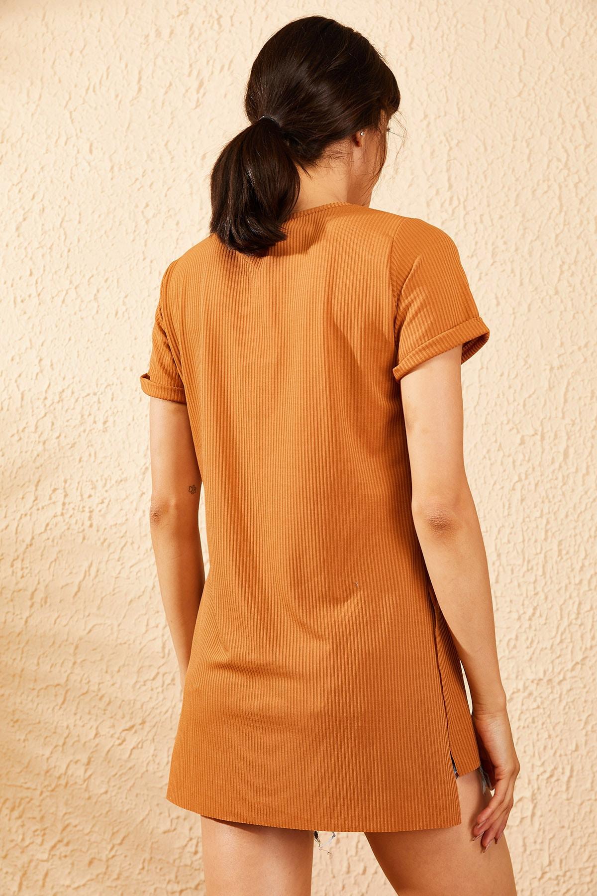Bianco Lucci Kadın Taba Kol Yan Yırtmaçlı Kol Detay Kaşkorse T-Shirt 10051012 4