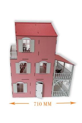 ALFAGAMA Ahşap Barbie Oyun Evi 48 Parça Eşyalı Set 80 Cm 1