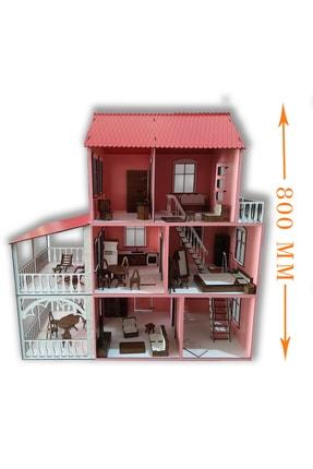 ALFAGAMA Ahşap Barbie Oyun Evi 48 Parça Eşyalı Set 80 Cm 3
