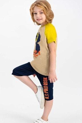 US Polo Assn Erkek Çocuk Bej Lisanslı Kum  Kapri Takım 1