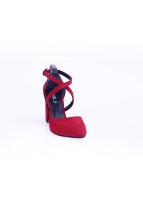 Dgn Kırmızı Süet Kadın Topuklu Ayakkabı 1101-1563 0