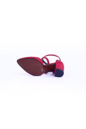 Dgn Kırmızı Süet Kadın Topuklu Ayakkabı 1101-1563 3