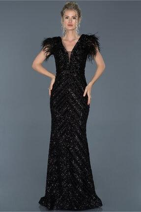 Abiyefon Siyah Uzun Pul Işlemeli Otrişli Abiye Elbise Abu881 0