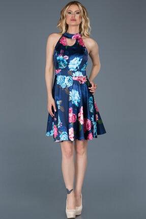 Abiyefon Kadın Lacivert Sırt Dekolteli Çiçekli Mezuniyet Elbisesi Abk494 0