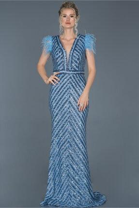 Abiyefon Indigo Uzun Pul Işlemeli Otrişli Abiye Elbise Abu881 0