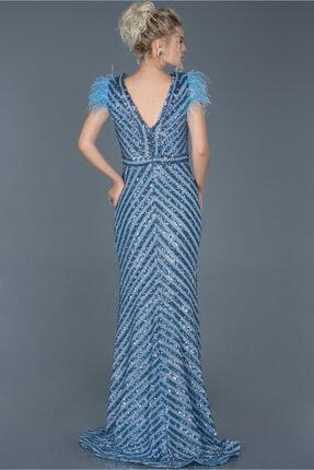 Abiyefon Indigo Uzun Pul Işlemeli Otrişli Abiye Elbise Abu881 1