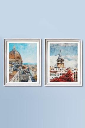 Life & Art 2'li Istanbul Galata Kulesi & Italya Floransa Suluboya Tablo Seti - 30x40 Cm - Çerçevesiz 0