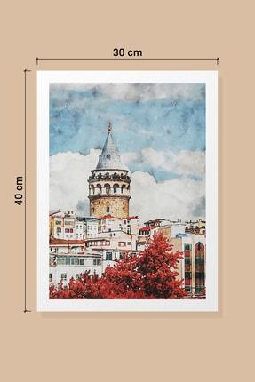 Life & Art 2'li Istanbul Galata Kulesi & Italya Floransa Suluboya Tablo Seti - 30x40 Cm - Çerçevesiz 1