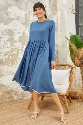 Mispacoz Uzun Kol Ayrobin Elbise Indigo 2