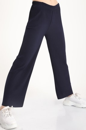 MD trend Kadın Lacivert Piliseli Bel Lastikli Salaş Pantolon Mdt5792 2