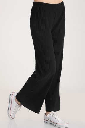 MD trend Kadın Siyah Piliseli Bel Lastikli Salaş Pantolon Mdt5792 0