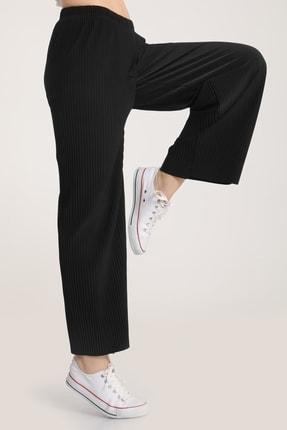 MD trend Kadın Siyah Piliseli Bel Lastikli Salaş Pantolon Mdt5792 1