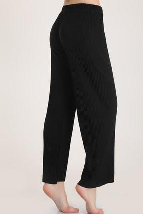 MD trend Kadın Siyah Piliseli Bel Lastikli Salaş Pantolon Mdt5792 3