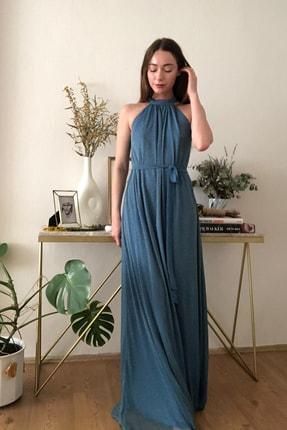 TRENDYOLMİLLA Mavi Işıltılı Kuşak Detaylı Abiye & Mezuniyet Elbisesi TPRSS20AE0079 0