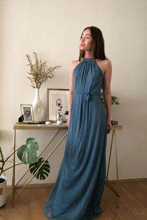 TRENDYOLMİLLA Mavi Işıltılı Kuşak Detaylı Abiye & Mezuniyet Elbisesi TPRSS20AE0079 2