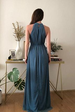 TRENDYOLMİLLA Mavi Işıltılı Kuşak Detaylı Abiye & Mezuniyet Elbisesi TPRSS20AE0079 4