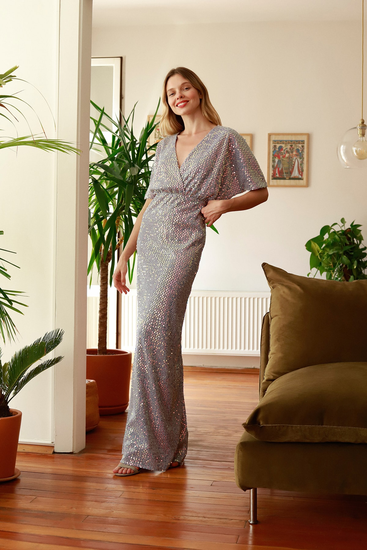 Lila Payetli Abiye & Mezuniyet Elbisesi TPRSS20AE0109