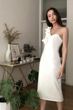 TRENDYOLMİLLA Ekru Aplike Detaylı Elbise TPRSS20EL2718 1