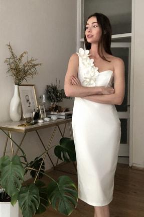 TRENDYOLMİLLA Ekru Aplike Detaylı Elbise TPRSS20EL2718 2